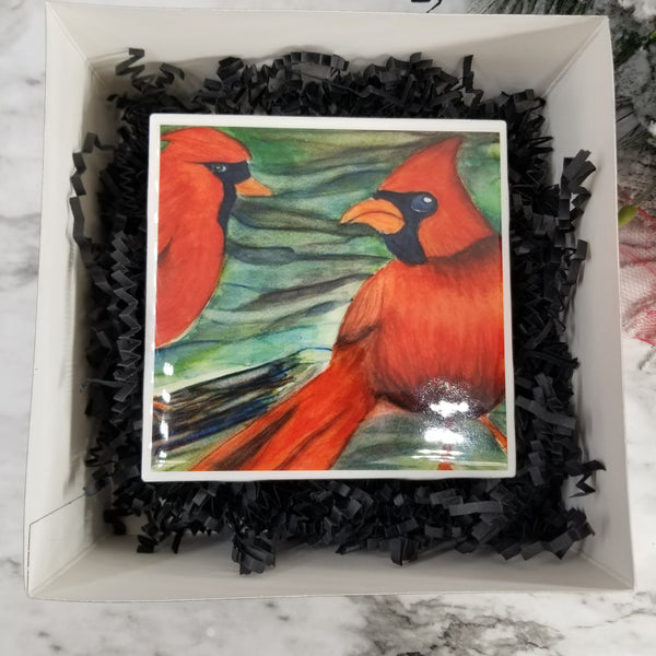 Watercolor Painted Tile Coasters - Winter