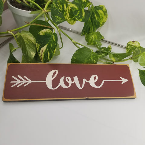 Love arrow wooden sign