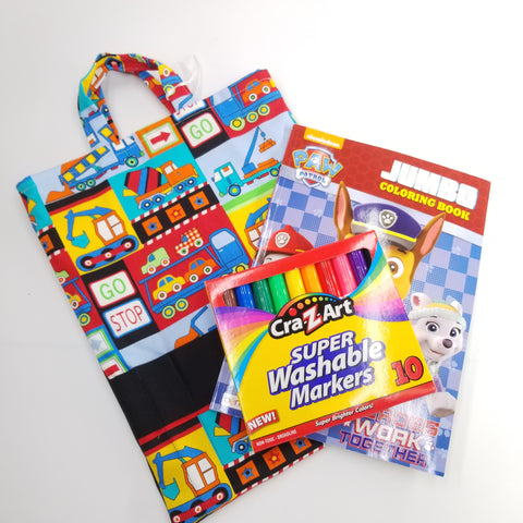 Kids art bag with coloring book