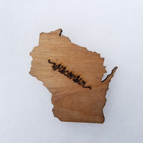 Wisconsin wood fridge magnet