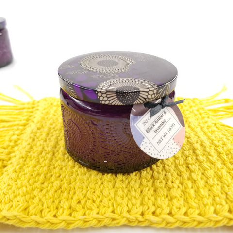 Premium Soy Candle - Black Amber And Lavender