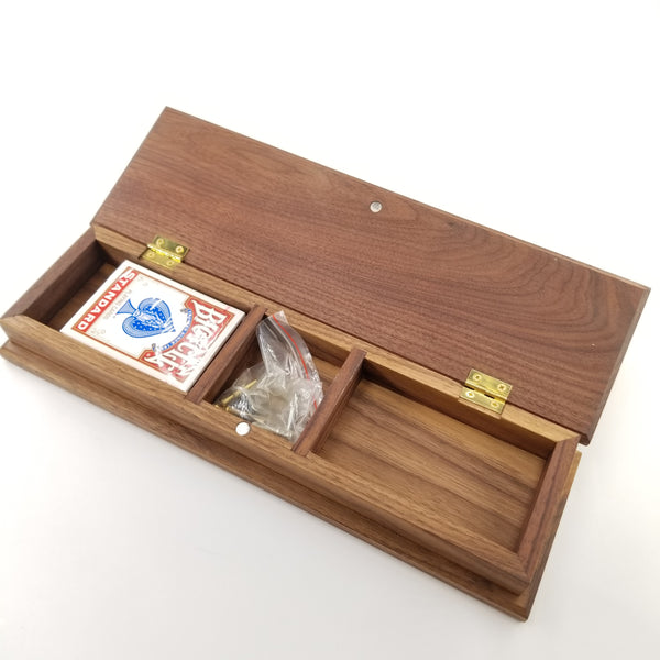 Wooden Cribbage Board With Storage