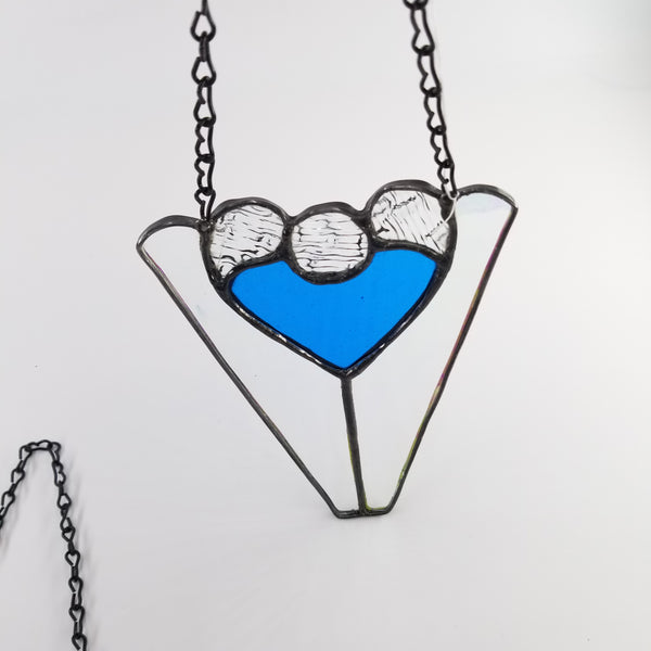Stained Glass Art - Triangle Heart - Wisconsin Made Window Glass