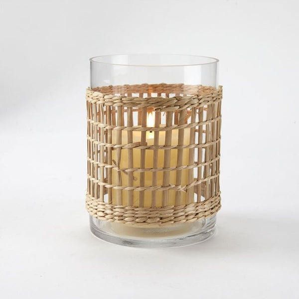 Wicker Wrap Natural - Glass Candle Lantern - Plant Holder