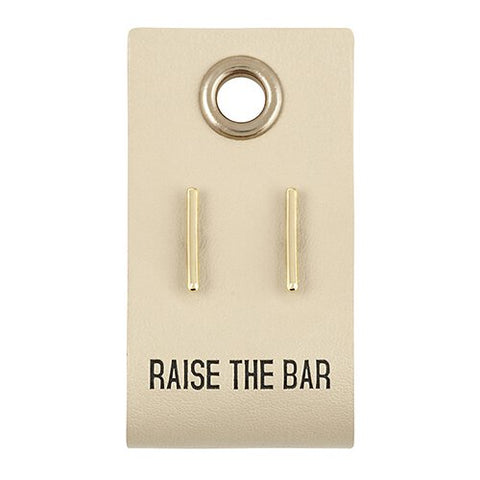 Bar Stud Earring with Leather tag