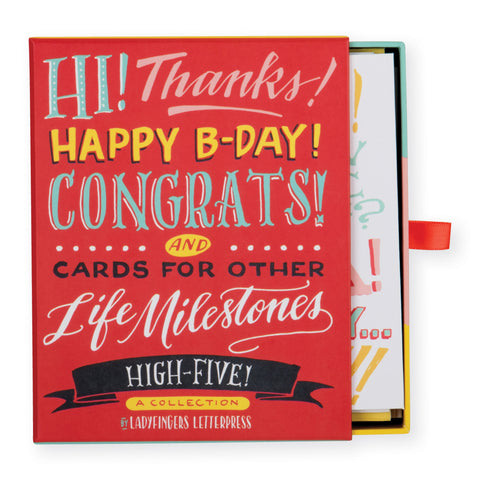 Ladyfingers Letterpress High Five Greeting Assorted Notecard Sets