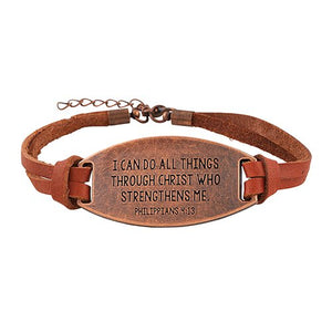 leather bracelet I can do all things through Christ who strengths me