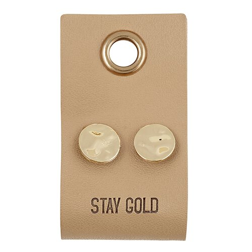 Round Gold Stud Earring with Leather tag