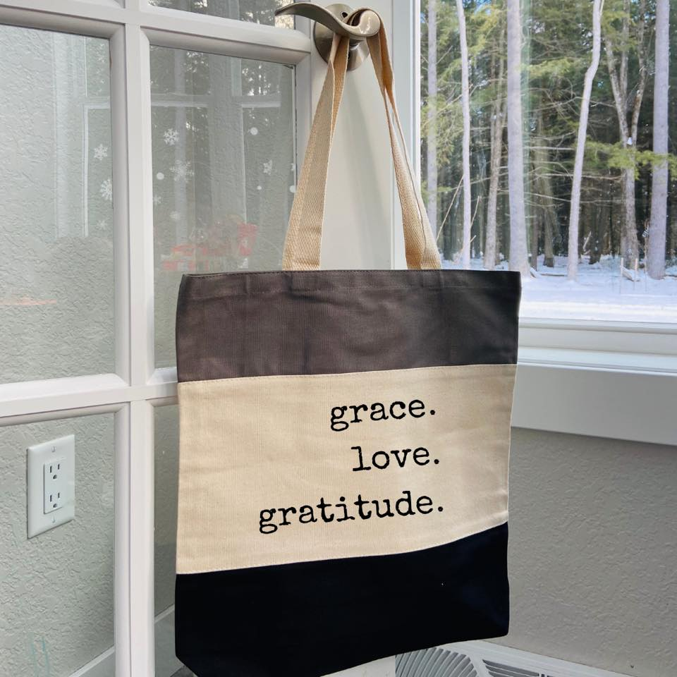 Grace Love Gratitude Tote Canvas Bag