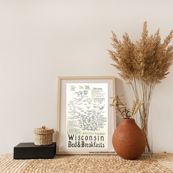 Wisconsin bed and breakfast place map