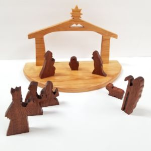 Traditional style Christmas Nativity Set | Wood Nativity Scene 10 Piece
