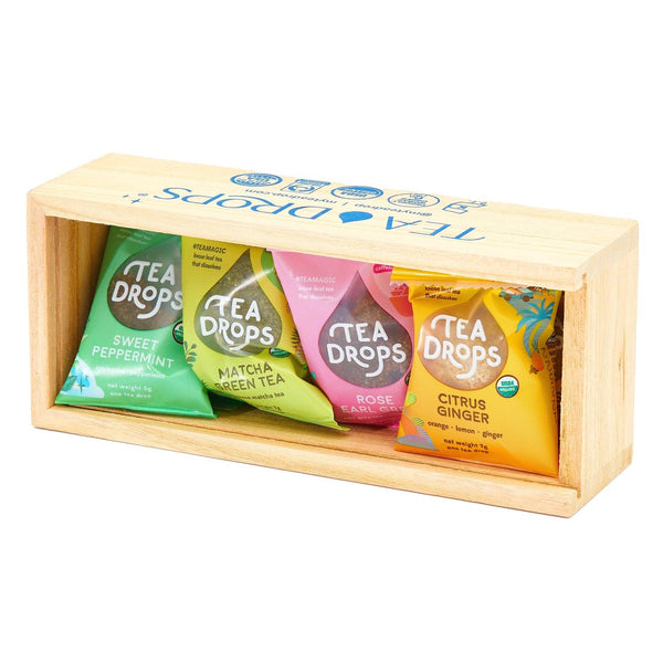 Tea Gift Box - Classic Assortment Tea Drops In A Wooden Box