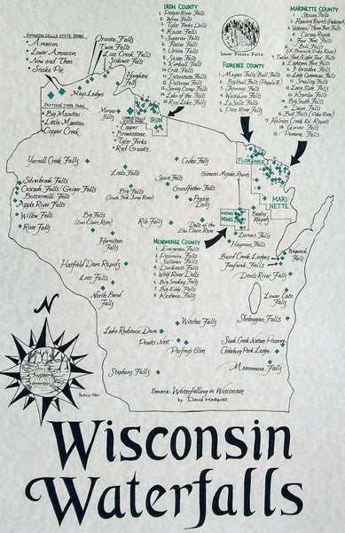Wisconsin waterfalls map