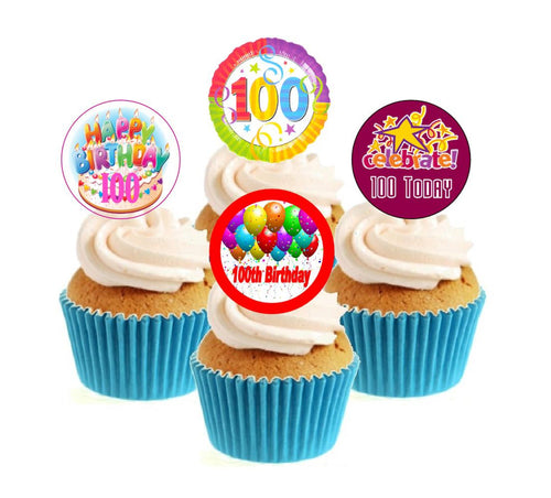 100th Birthday Stand Up Cake Toppers (12 pack)