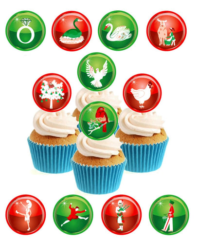 12 Days of Christmas Stand Up Cake Toppers (12 pack)  Pack contains 12 images printed onto premium wafer card