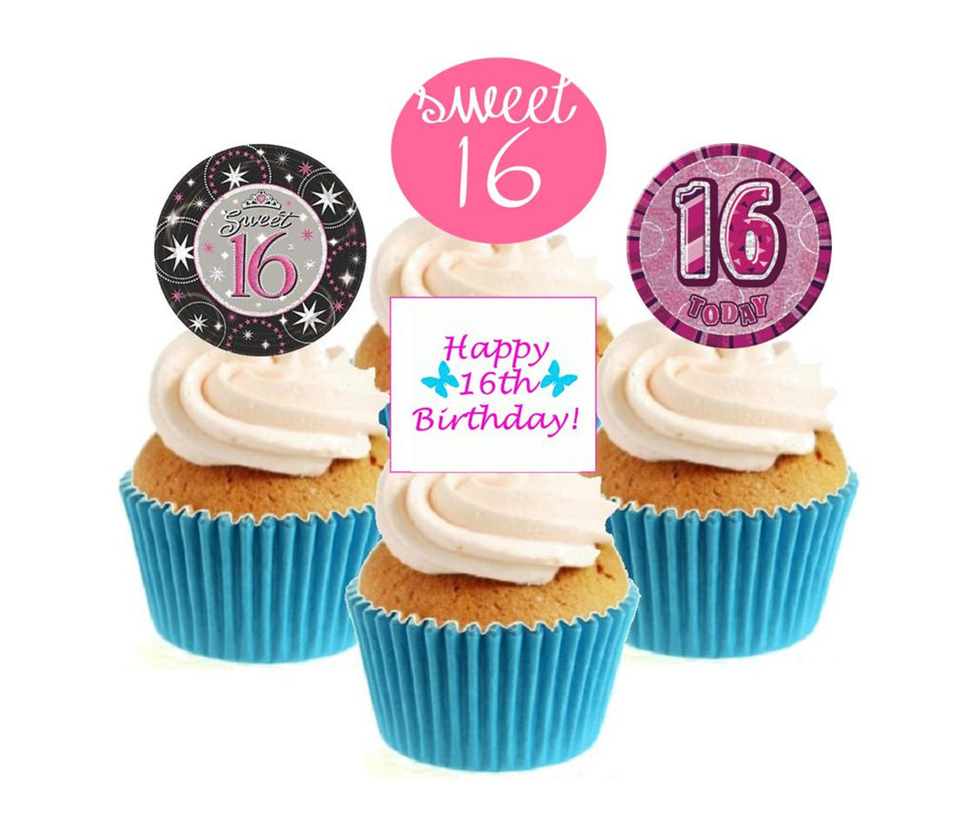 16th Birthday Pink Stand Up Cake Toppers (12 pack)  Pack contains 12 images - 3 of each image - printed onto premium wafer card