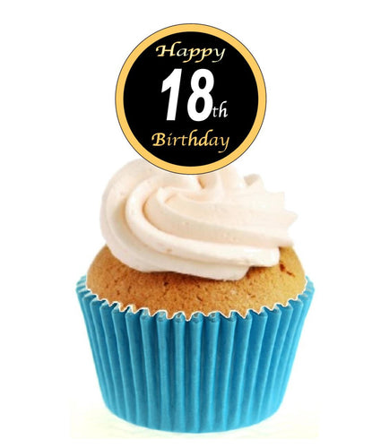 18th Birthday Black / Gold Stand Up Cake Toppers (12 pack)