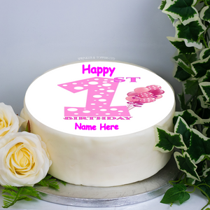 "Personalised 1st Birthday Pink  8"" Icing Sheet Cake Topper"