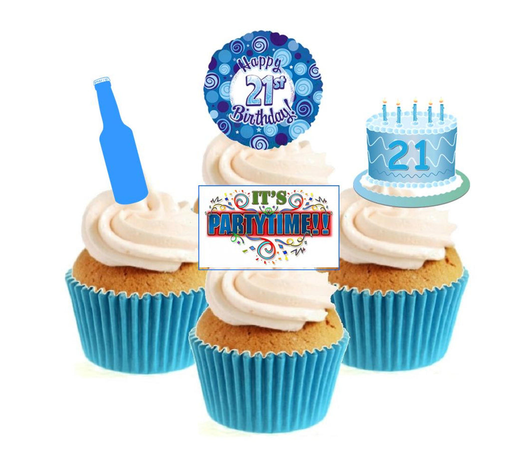21st Birthday Blue Stand Up Cake Toppers (12 pack)  Pack contains 12 images - 3 of each image - printed onto premium wafer card