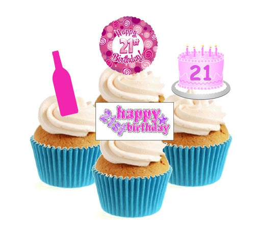 21st Birthday Pink Stand Up Cake Toppers (12 pack)