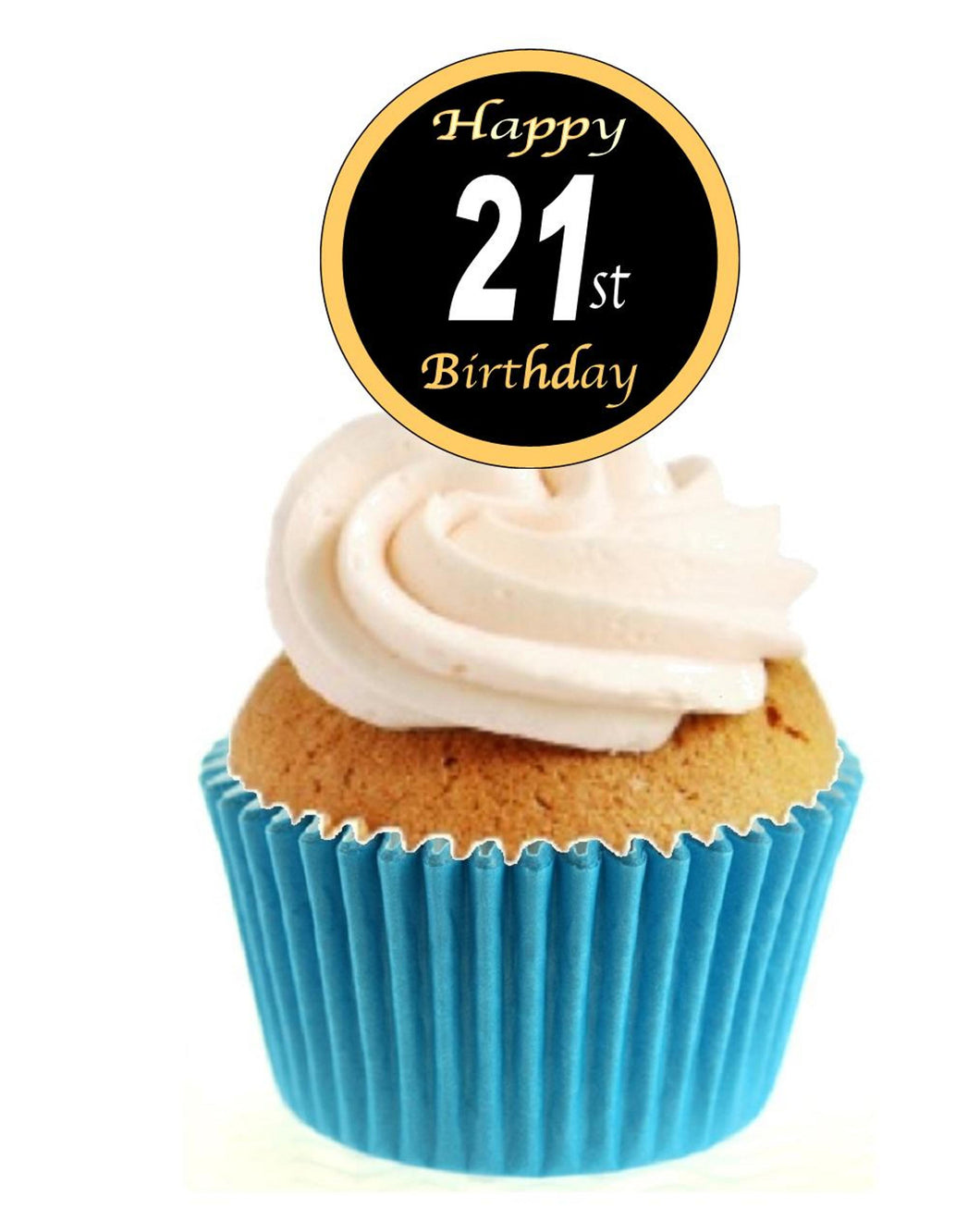 21st Birthday Black / Gold Stand Up Cake Toppers (12 pack)  Pack contains 12 images printed onto premium wafer card