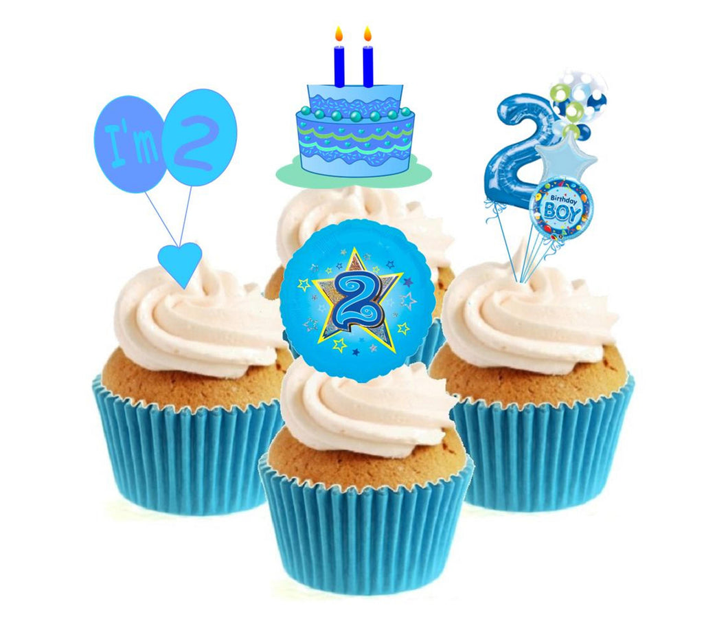 2nd Birthday Blue Stand Up Cake Toppers (12 pack)  Pack contains 12 images - 3 of each image - printed onto premium wafer card