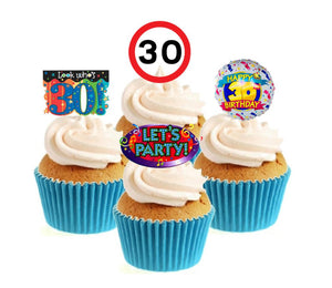 30th Birthday Stand Up Cake Toppers (12 pack)  Pack contains 12 images - 3 of each image - printed onto premium wafer card