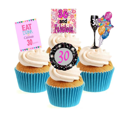 30th Birthday Pink Stand Up Cake Toppers (12 pack)