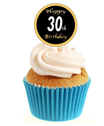 30th Birthday Black / Gold Stand Up Cake Toppers (12 pack)