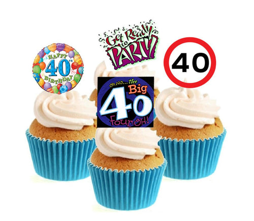 40th Birthday Stand Up Cake Toppers (12 pack)