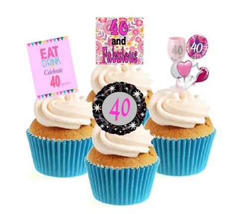 40th Birthday Pink Stand Up Cake Toppers (12 pack)