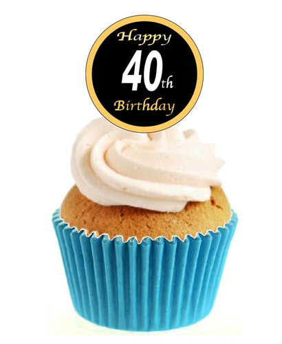 40th Birthday Black / Gold Stand Up Cake Toppers (12 pack)