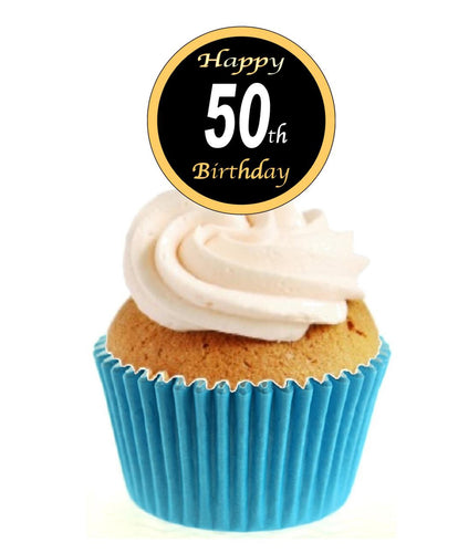 50th Birthday Black / Gold Stand Up Cake Toppers (12 pack)