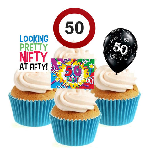 50th Birthday Stand Up Cake Toppers (12 pack)