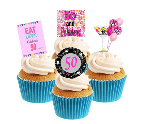 50th Birthday Pink Stand Up Cake Toppers (12 pack)