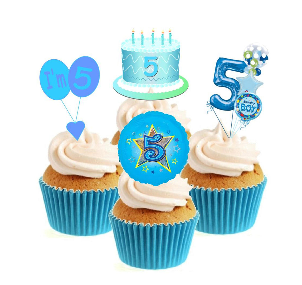 5th Birthday Blue Stand Up Cake Toppers (12 pack)  Pack contains 12 images - 3 of each image - printed onto premium wafer card
