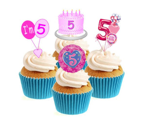 5th Birthday Pink Stand Up Cake Toppers (12 pack)  Pack contains 12 images - 3 of each image - printed onto premium wafer card