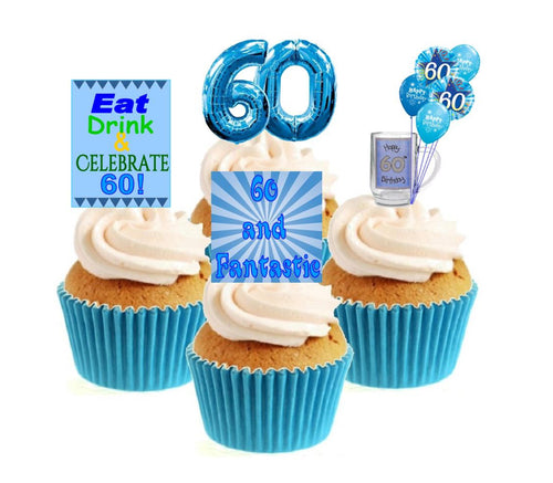 60th Birthday Blue Stand Up Cake Toppers (12 pack)