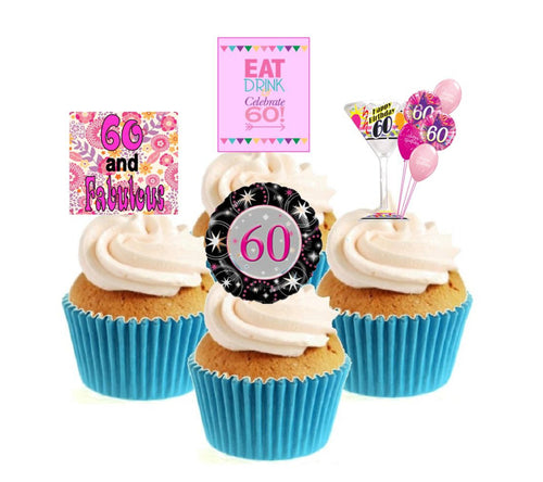 60th Birthday Pink Stand Up Cake Toppers (12 pack)