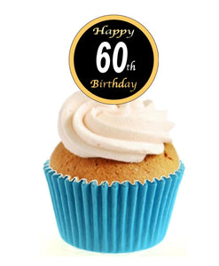 60th Birthday Black / Gold Stand Up Cake Toppers (12 pack)  Pack contains 12 images printed onto premium wafer card