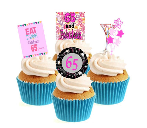 65th Birthday Pink Stand Up Cake Toppers (12 pack)