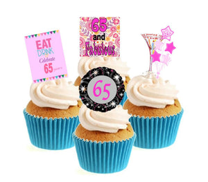65th Birthday Pink Stand Up Cake Toppers (12 pack)  Pack contains 12 images - 3 of each image - printed onto premium wafer card