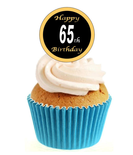 65th Birthday Black / Gold Stand Up Cake Toppers (12 pack)