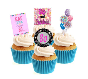 80th Birthday Pink Stand Up Cake Toppers (12 pack)  Pack contains 12 images - 3 of each image - printed onto premium wafer card