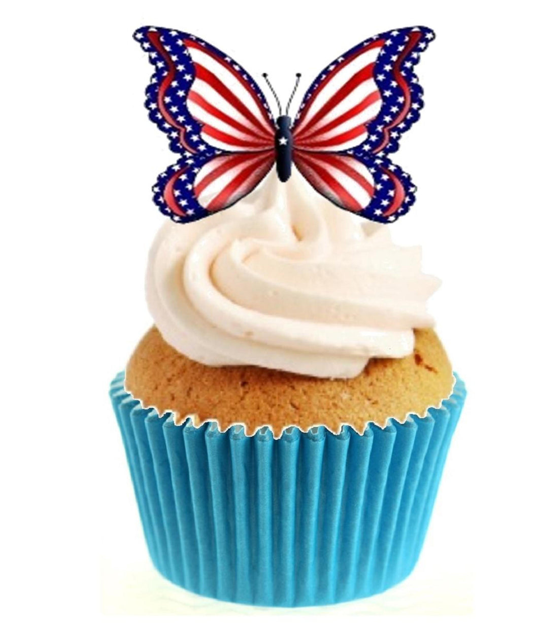 American Butterfly Stand Up Cake Toppers (12 pack)  Pack contains 12 images printed onto premium wafer card