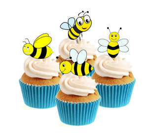 Busy Bees Stand Up Cake Toppers (12 pack)  Pack contains 12 images - 3 of each image - printed onto premium wafer card