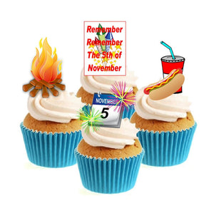 Bonfire Night Collection Stand Up Cake Toppers (12 pack)  Pack contains 12 images - 3 of each image - printed onto premium wafer card