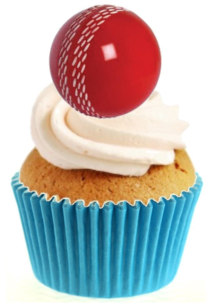 Cricket Ball Stand Up Cake Toppers (12 pack)  Pack contains 12 images printed onto premium wafer card