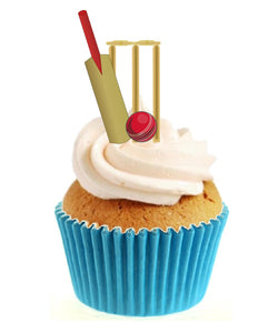 Cricket Bat, Ball & Stumps Stand Up Cake Toppers (12 pack)  Pack contains 12 images printed onto premium wafer card