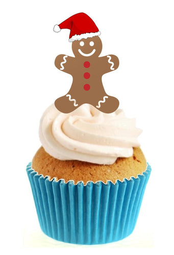 Gingerbread Man Stand Up Cake Toppers (12 pack)  Pack contains 12 images printed onto premium wafer card